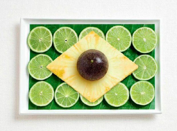 01-brazil-flag-made-from-food-Banana-leaf-limes-pineapple-passion-fruit