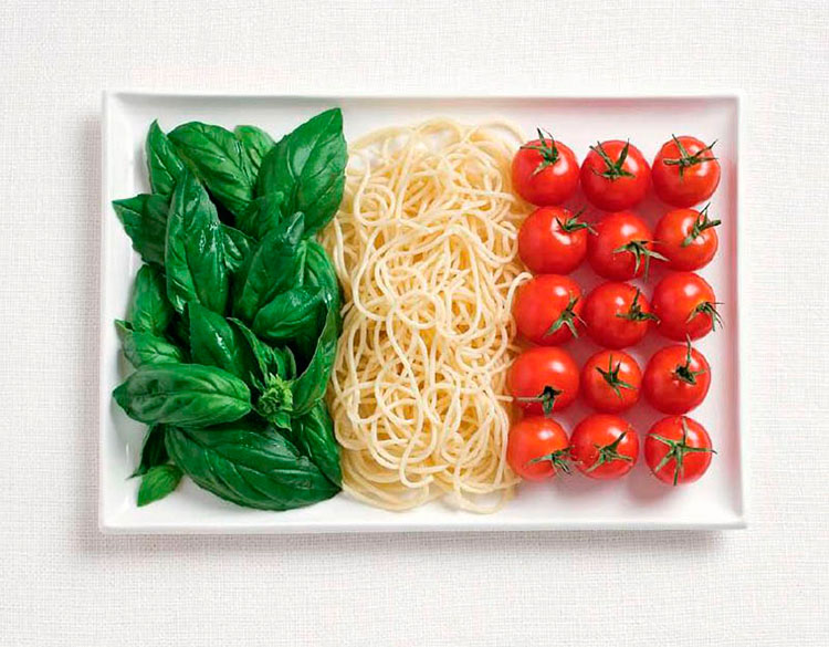 02-italy-flag-made-from-food-Basil-Pasta-Tomatoes