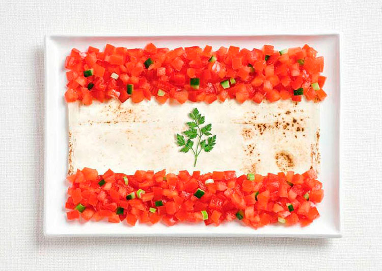 05-lebanon-flag-made-from-food-Lavash-fattoush-herb-spring