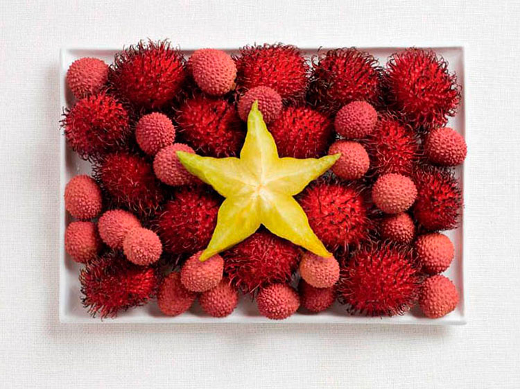 07-vietnam-flag-made-from-food-Rambutan-lychee-starfruit