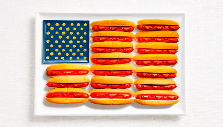 13-united-states-flag-made-from-food-Hot-dogs-ketchup-and-mustard-or-cheese